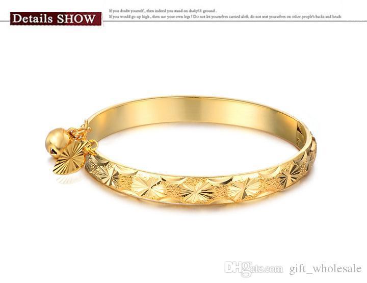 Хорошая бесплатная доставка прекрасные ювелирные изделия 18K позолоченный браслет сердце Белл детские дети браслет 5.4