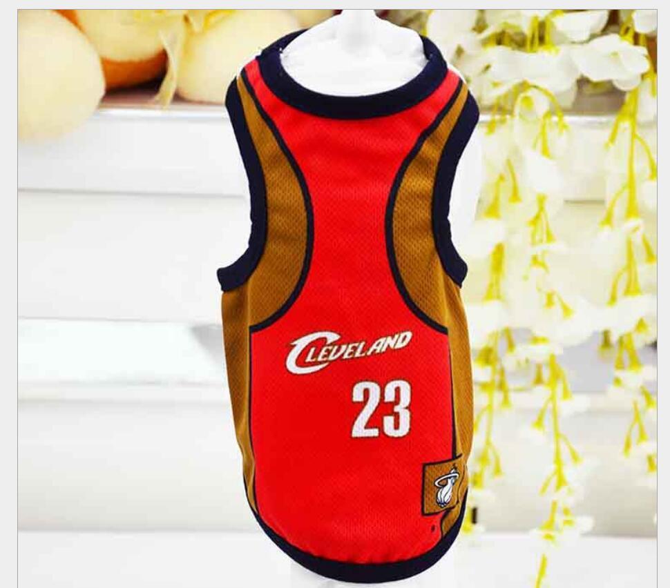 2017 Summer Dog Gilet Basketball Jersey Cool Respirant Pet Cat Vêtements Puppy Outdoor Sportswear Mode Coton Chien Shirt XS-6XL