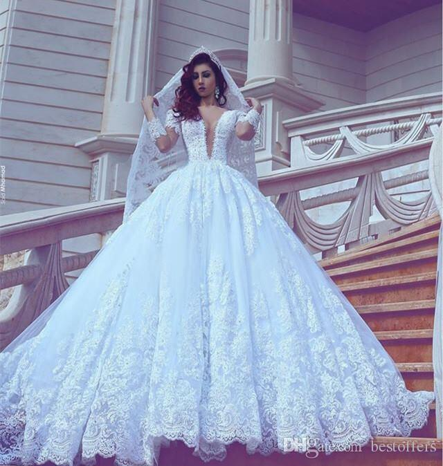 Discount 2017 white elegant wedding dresses sheer long for White elegant wedding dresses