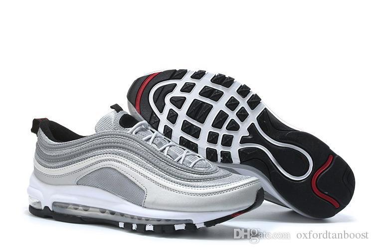 c63b7d6da23 Men 97 Silver Metallic Gold Bullet Running Shoes Triple White Black Sport  Trainers Sneakers 40-45 With Box Silver Bullet Sneakers Gold Bullet Shoes  Triple ...