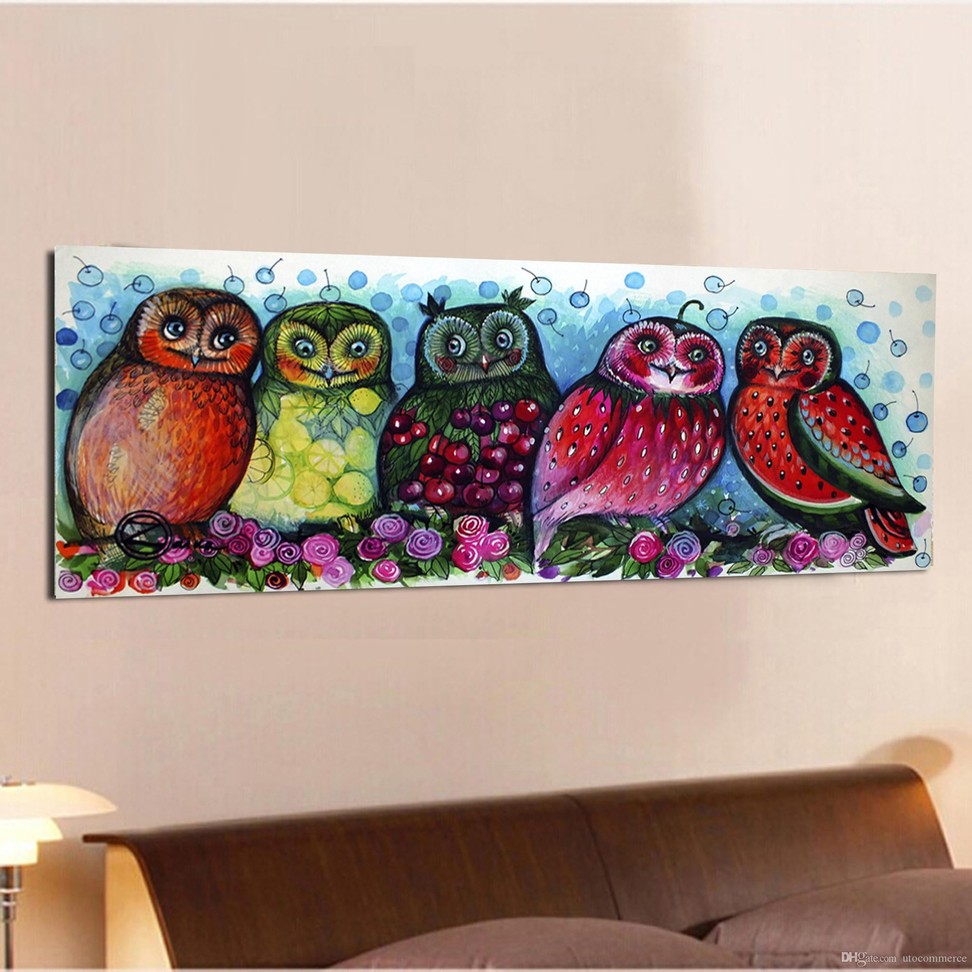 HD Cartoon Owl Fruit Colorful Canvas Painting Home Decor Canvas Wall Art Picture Digital Art Print for Children Room