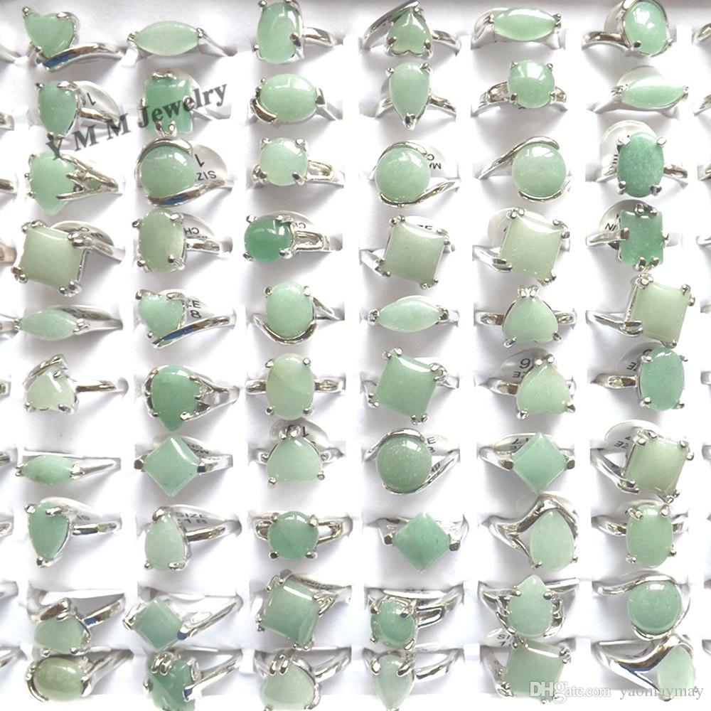 50pcs Natural Green Jade Rings Mixed Size For Women Cheap Rings For Promotion