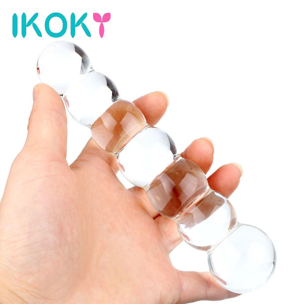 ikoky glass anal plug with 7 beads crystal anal sex toys for men