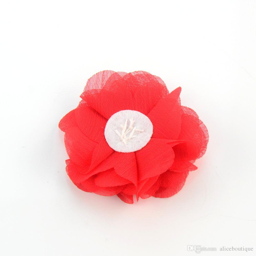 el envío / 27 del color 2.36inch lindo flores de gasa con perla del Rhinestone sin las pinzas de pelo de las vendas de los accesorios H005
