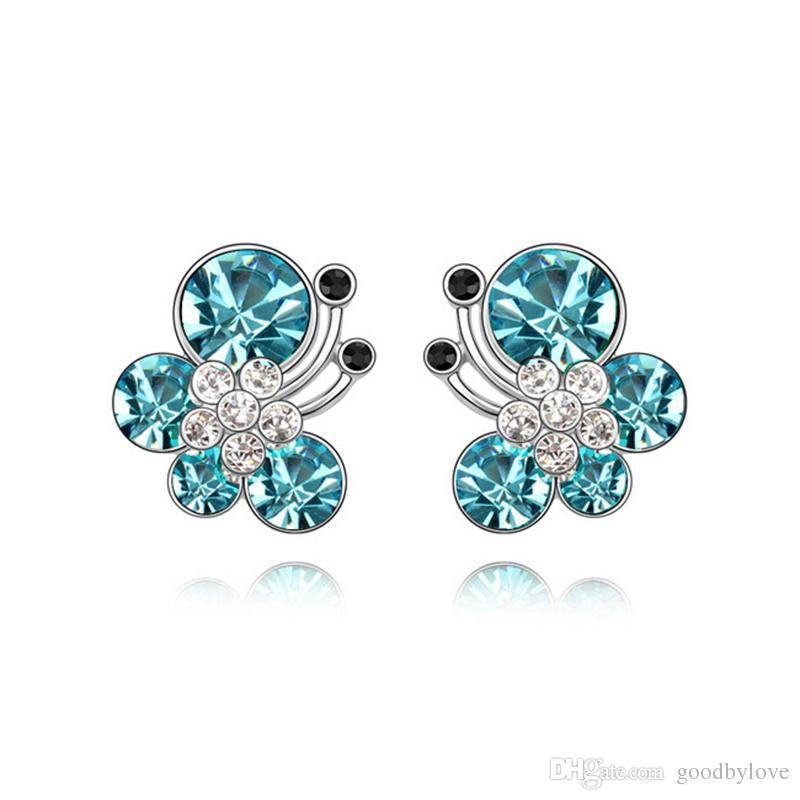 Animal Jewelry White Gold Color Crystal Zircon CZ Cute Butterfly Piercing Stud Earrings for Women Kids Girls