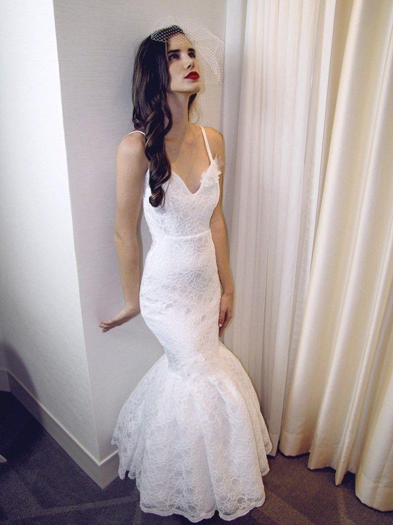 Sexy Ankle Length Mermaid Wedding Dress Vintage Woman Spaghetti ...