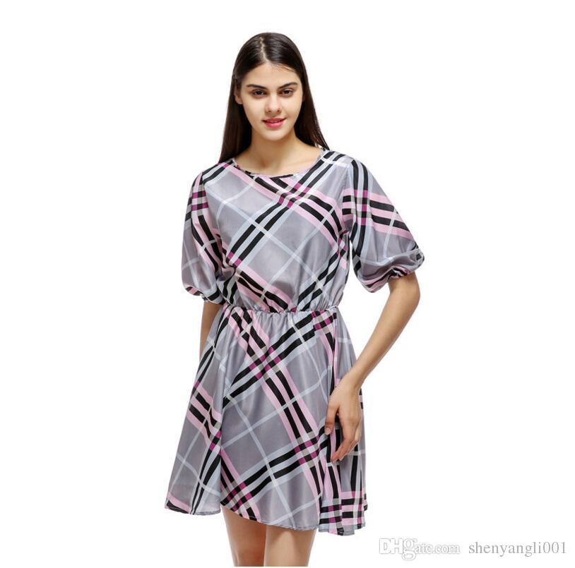 2019 yazında, sonbahar yeni elbise seksi ekose yaka yarım kollu elbise gündelik gömlek etek prenses elbise
