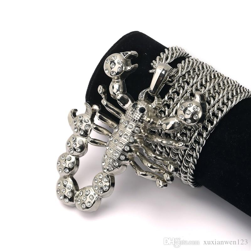 Factory sale Hip Hop Jewelry Gold Silver Plated Big Scorpion Pendant Necklace For Men Women Fashion Mens Women
