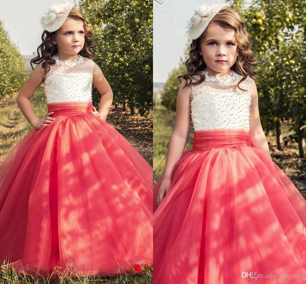ba8d65ca998 2017 New Flower Girls Dresses For Weddings Lace Appliques Beaded Coral Champagne  Tulle Birthday Dress Children Party Kids Girl Ball Gowns Baby Flower Girl  ...
