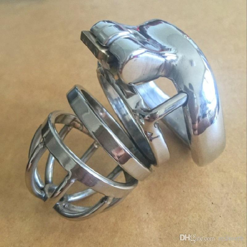 El más nuevo diseño de la cerradura 70 mm de longitud de la jaula de acero inoxidable pequeños dispositivos de castidad masculina 130 g 40 mm 45 mm 50 mm corta la jaula del martillo para los hombres