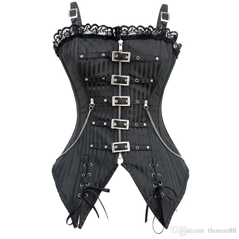 3d516f60bb1 2019 Wholesale Goth Black Striped Vampire Corset Bustiers Sexy Punk Cos  Stage Costume Steampunk Corsets From Thomas88