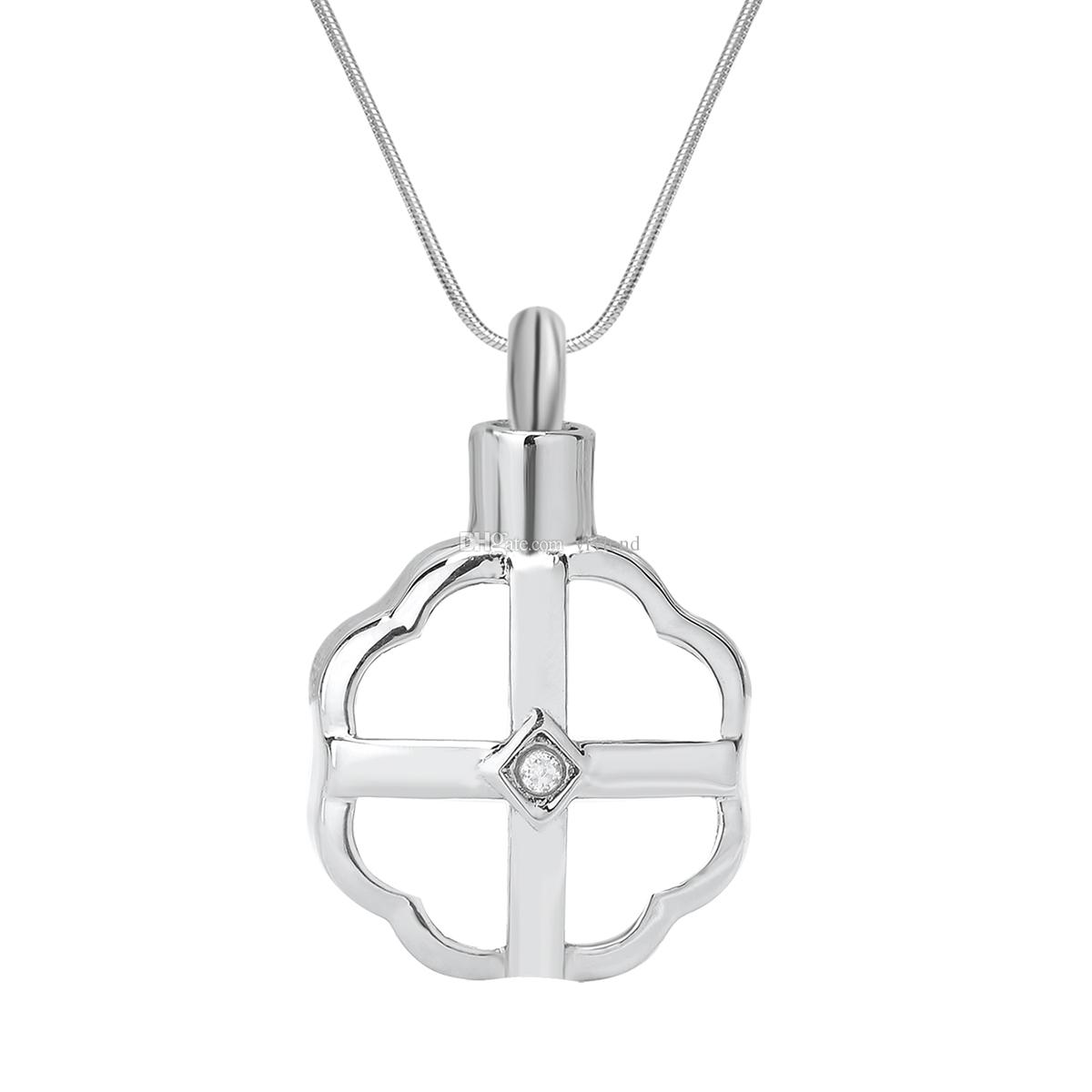 Hand Cross Cremation Urn Keepsake Memorial DIY Charms Pendant for Necklace