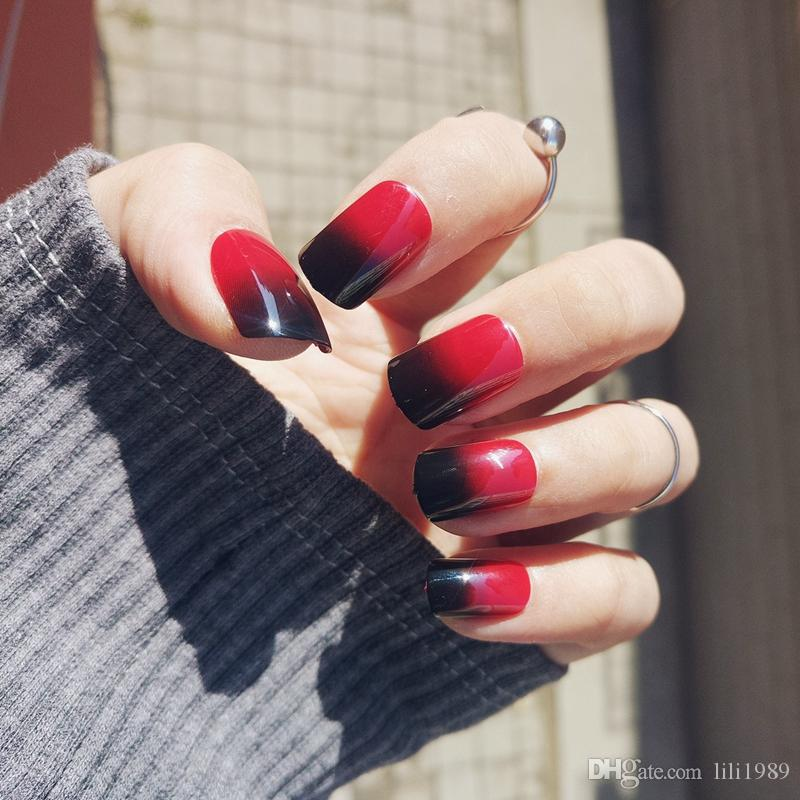 New Products False Nail Red Wine Double Line Short Section Nail Art ...