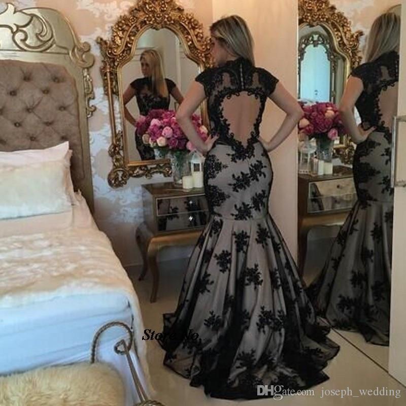 Vestido de noite Plus Size Vestidos Longos De Festa 2017 Alta Neck Black Lace Appliqued Sereia Backless Prom Dress