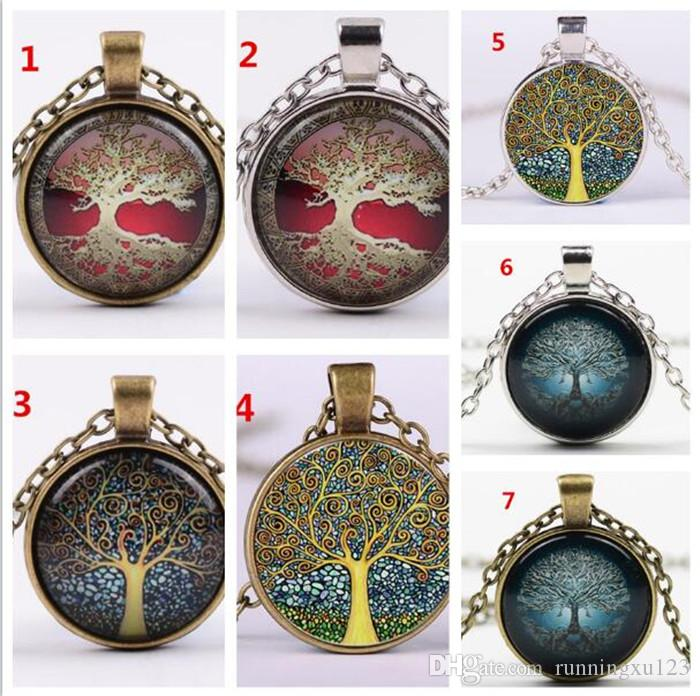 100pcs Alloy Vintage Living Tree of Life Glass Cabochon With Natural Stone Bronze Chain Pendant Necklace Nice Jewelry Accessary A109
