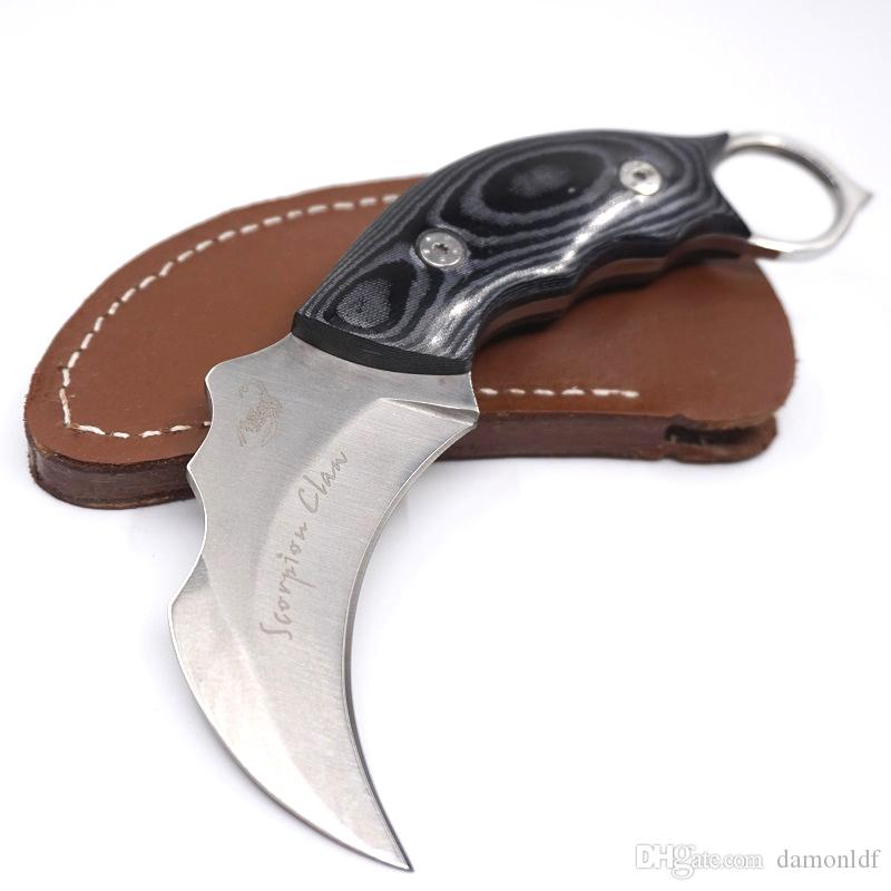 Scorpion Claw Karambit Pocket knife Fixed Blade Micarta Handle Leather Shealth Christmas Gift Camping Survival Hunting EDC Tool