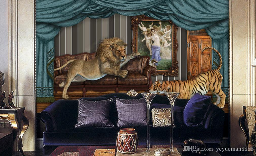 3d wallpaper mural custom luxury gold wallpaper for living room Lion Tiger Background Wall