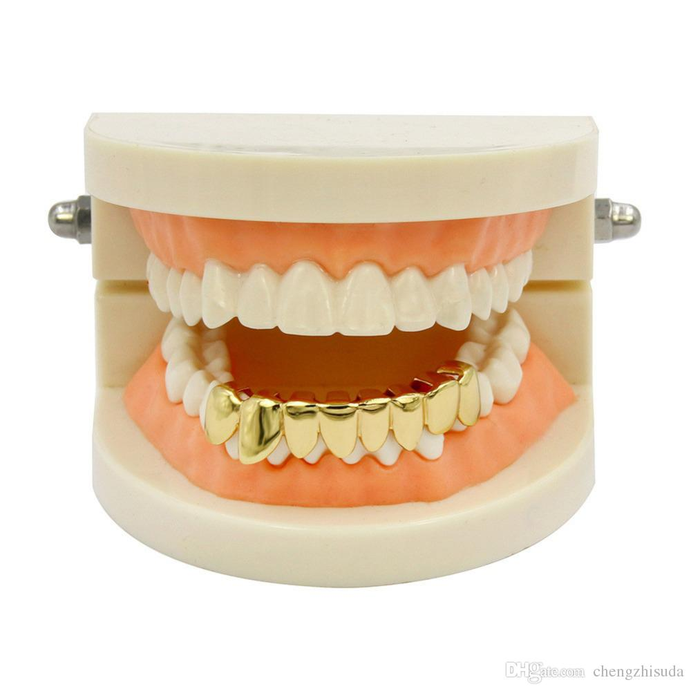 Hip hop Gold Grillz Caps Shaped Teeth Grills Lower Bottom Perm Cut Real Grill Teeth GRILLZ With silicone