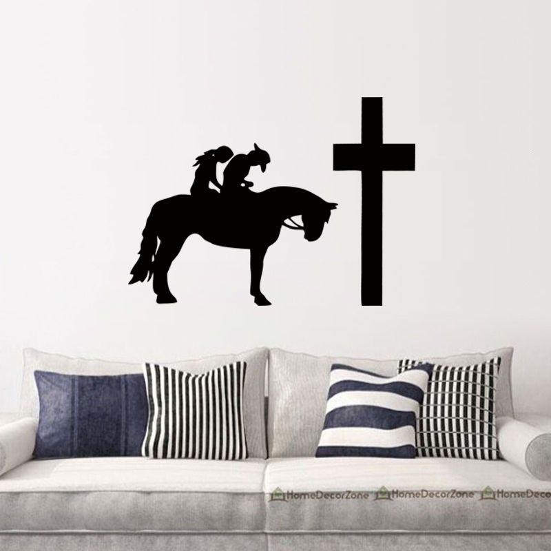 Compre Cowboy Cowgirl Cavalo Rezar Cruz Cruz Gráfico Adesivo De Parede  Decalque De Vinil Personalidade Sala De Estar Quarto Decoração DIY De  Langru1002 55ff019b20e