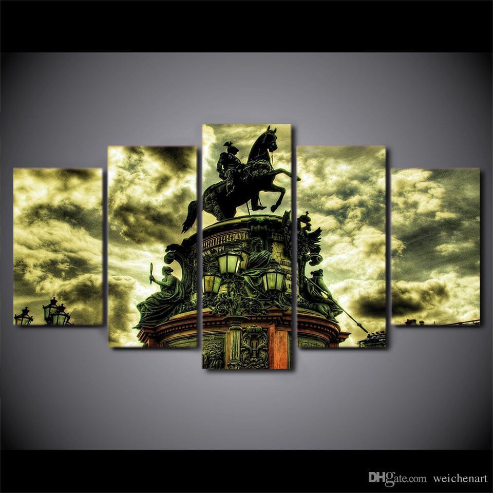 5 Pz / set Incorniciato HD Stampato Cavallo Edificio Statua di Arte Della Parete Immagine Moderna Decorazione Della Casa Soggiorno Tela Pittura