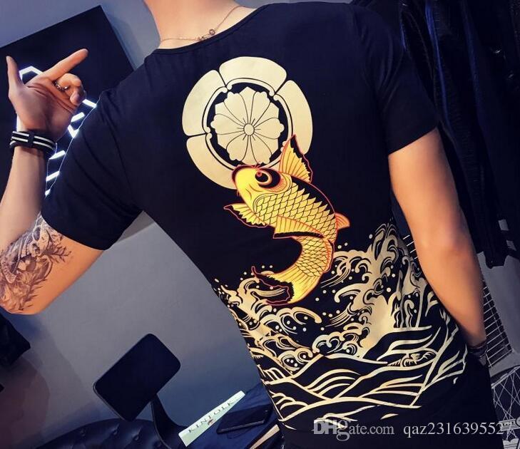 Yaz yarım kollu gömlek dövmeli ejderha desen otoriter T-shirt xia erkek kısa kollu kişinin ahlak yetiştirmek
