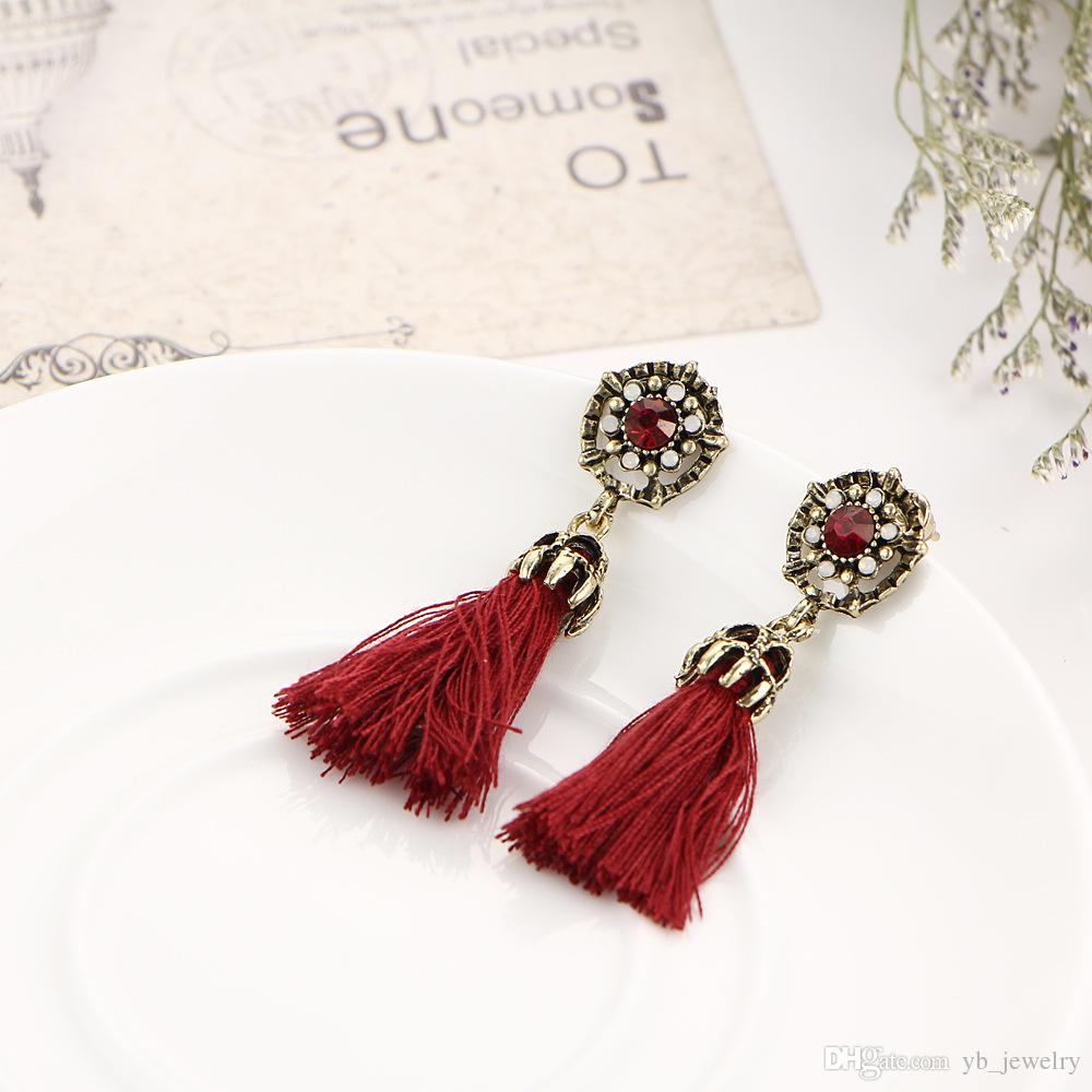 Europe & USA big brand Korean cotton tassel earrings personality fashion ethical retro style alloy crystal dangle earrings for women