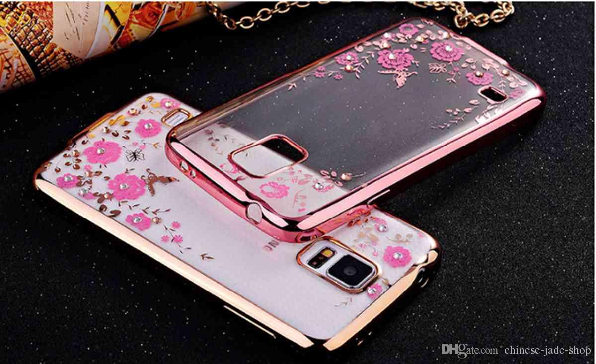 For Samsung Galaxy Note 3 4 8 C5 C7 C8 C10 C9 Pro A8 A9 Luxury Anti Crack Softshell A3 2016 A310 Silikon Shockproff Shock Case Bling Diamond Electroplate Frame Tpu Secret Garden Flower Clear