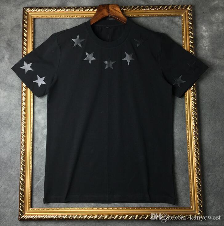2019 sommer marke top mens t-shirt kurzen ärmeln schwarz weiß fünfzackigen stern t-shirt männer designer t shirt t rundhals mode t-shirt