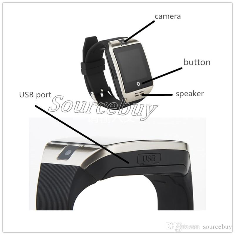 Smart Watch Q18 with Touch Screen camera sim card TF card Bluetooth NFC Wireless Connection smartwatch for Android and IOS Phone retail Box