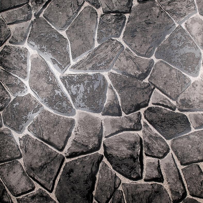 Wholesale- Natural Pvc Black Grey 3d Stone Wallpaper Wall