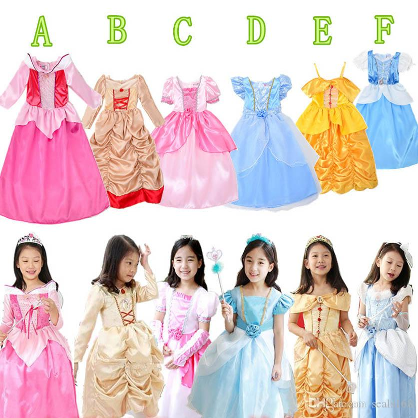 New Girls Aurora Belle Cinderella Snow White Princess Party Dress Halloween Cosplay Dresses Children Kids Costume Clothing 6 Styles PX-A17