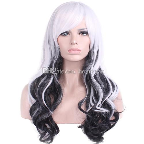 Cosplay Lolita Harajuku Cartoon Wig Cheap Long Body Wave White Ombre Black Hair Wigs Side Bang Heat Resistant Wigs