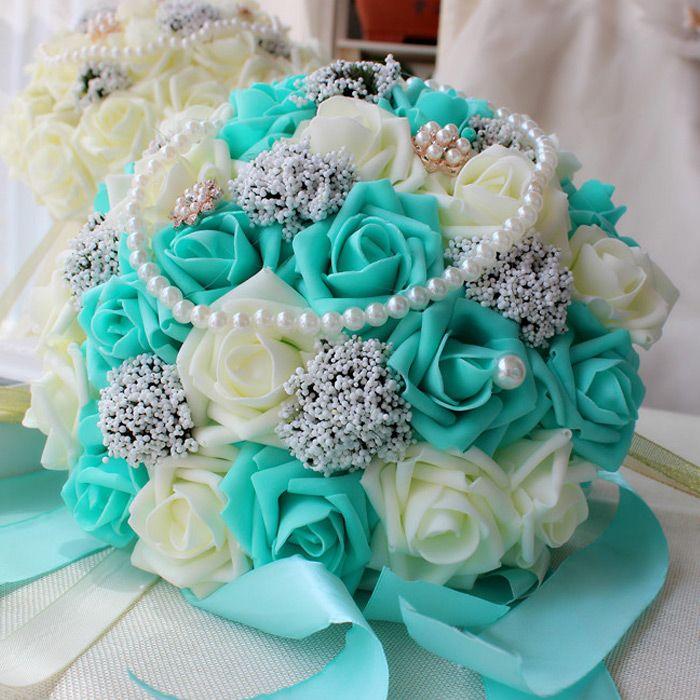 30cm Rose Künstliche Perlen Brautstrauß Braut Blumen Blau Weiß Hochzeit Bouquet Seidenband New Buque De Noiva