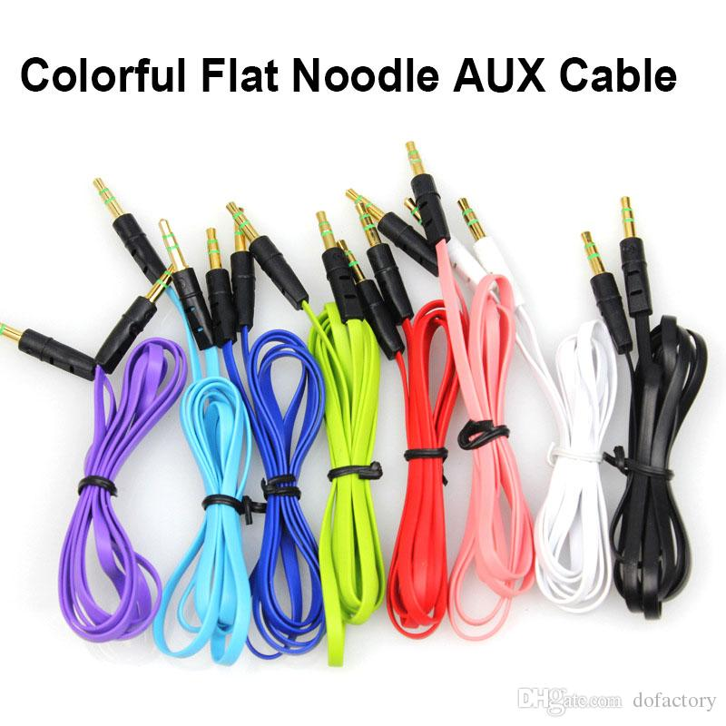3.5mm male to male Extension Replacement Stereo Color Audio Cable for Headphone with AUX Golden Jack