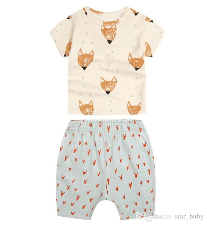 Children suit EuropeStyle 2017 new summer cotton suit baby cothes fox printing short sleeve T-shirt+ shorts B4761