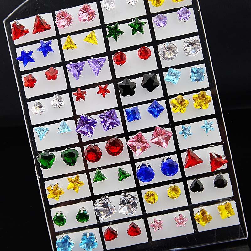 Mix Coração Estrelas Rodada Quadrado Cubic Zirconia Aço Inoxidável Moda Stud Brincos + pad para Womens Mens Lotes de Jóias Por Atacado A331