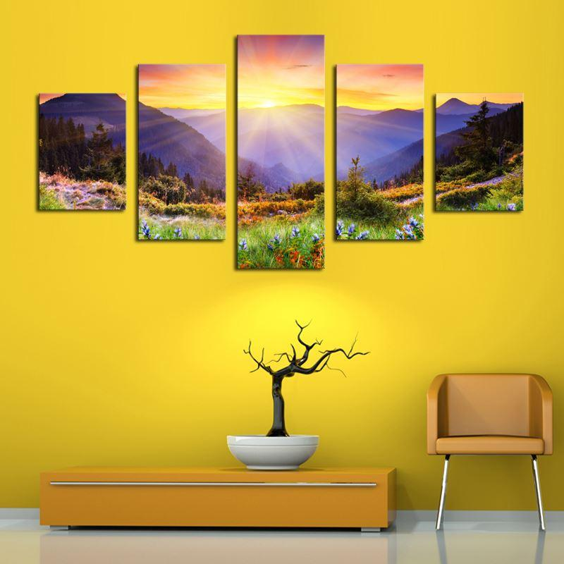 Unframed 5 Panels Modern Colorful Hill HD Picture Canvas Print ...