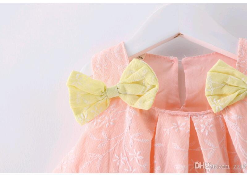 Симпатичная детская блузка в стиле кукольного платья Прекрасная девочка Розовая юбка с двумя бантами Топ 100% хлопок Детская одежда