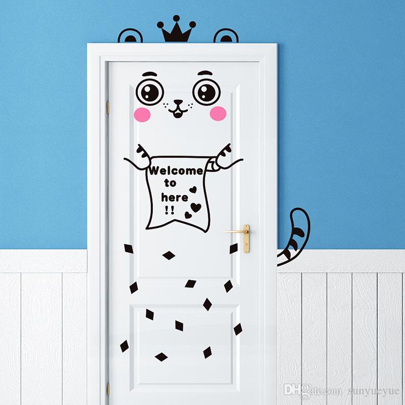 cat bedroom. Cute Creative Cat Door Frame Wall Post Bedroom Character Humorous Self  Adhesive Can Remove The Children S Room Nursery School Word Stickers World