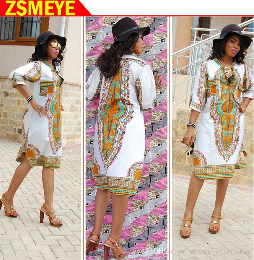 60f53a5506 ZSMEYE marca de moda de Alta-qualidade africano vestido projetos africano  dashiki vestidos bazin africano mulheres camisas de roupas com decote em V  das ...