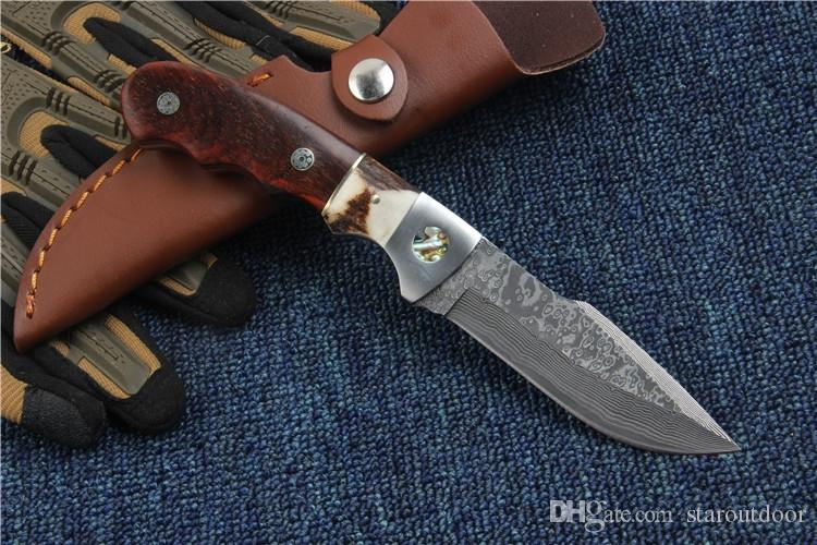 Desert Damascus Survival Straight Knife 58HRC Tactical Camping Hunting Pocket Military Knife Wood Handle Rescue EDC Tools Xmas Collection