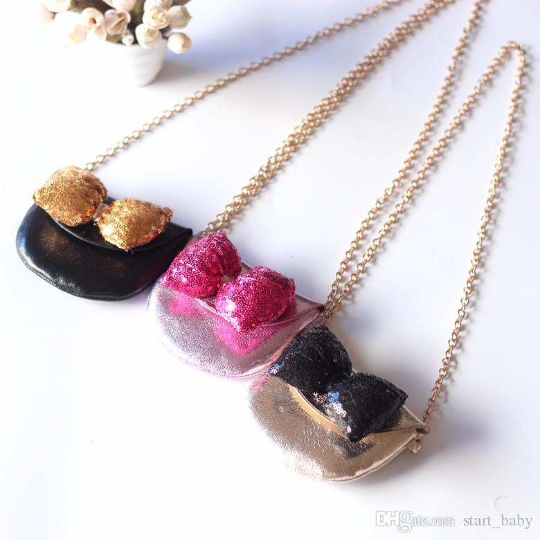 Niños INS Golden Lentejuelas Hombro Bolsas de PU 10 Chicas de Color Arco Dorado Mensajero de mano Bolsas de cadena de metal billetera