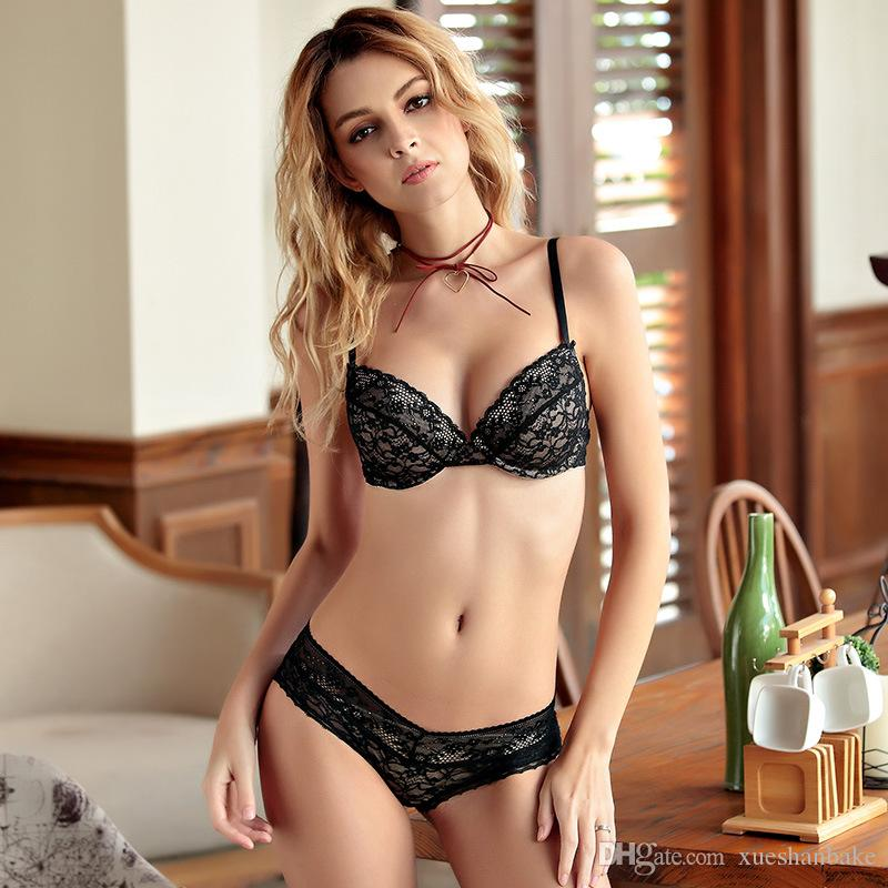368a7fa076 2019 MOXIAN Summer New Bra Suit 2017 Comfortable Thin Cotton Cup Ladies  Underwear Deep V Sexy Bra 32 To 38 Size A B C Cup Lace Gray Black 2011 From  ...