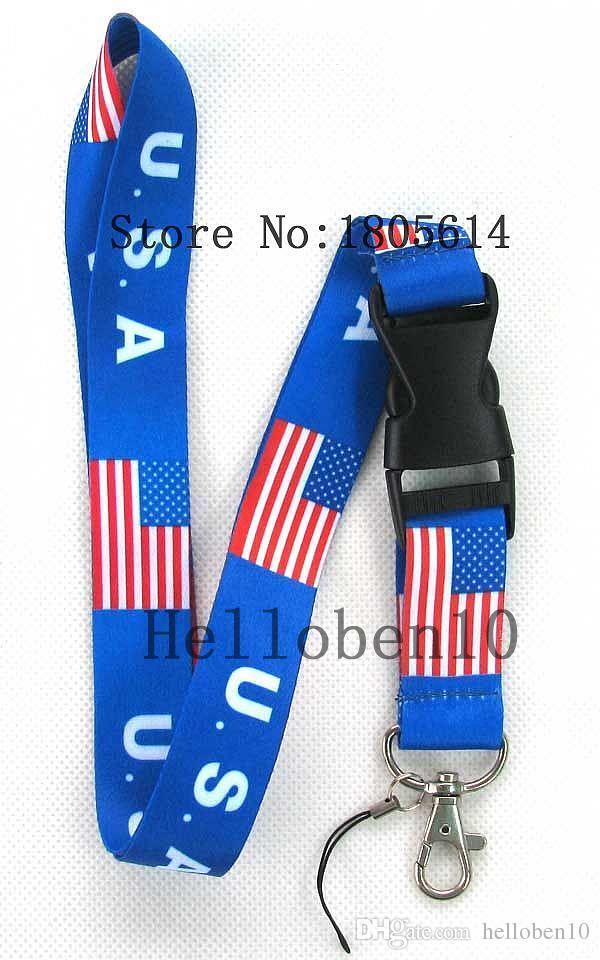 Hitze! 10 stücke Flagge der Vereinigten Staaten abnehmbare schnalle handy seil lanyard Gurt Abzeichen ID Lauf Handyhalter charme JK16