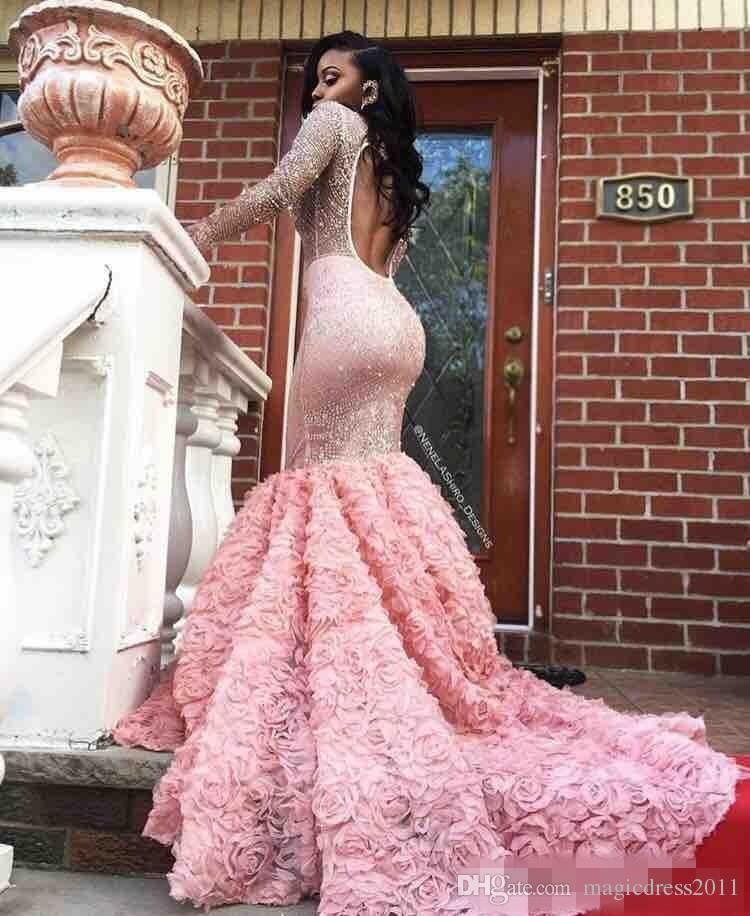 Роскошные сексуальные Русалка вечерние платья Пром 2k17 иллюзия бисера Роза цветочный платье Pageant тюль часовня поезд замочную скважину обратно Пром платья