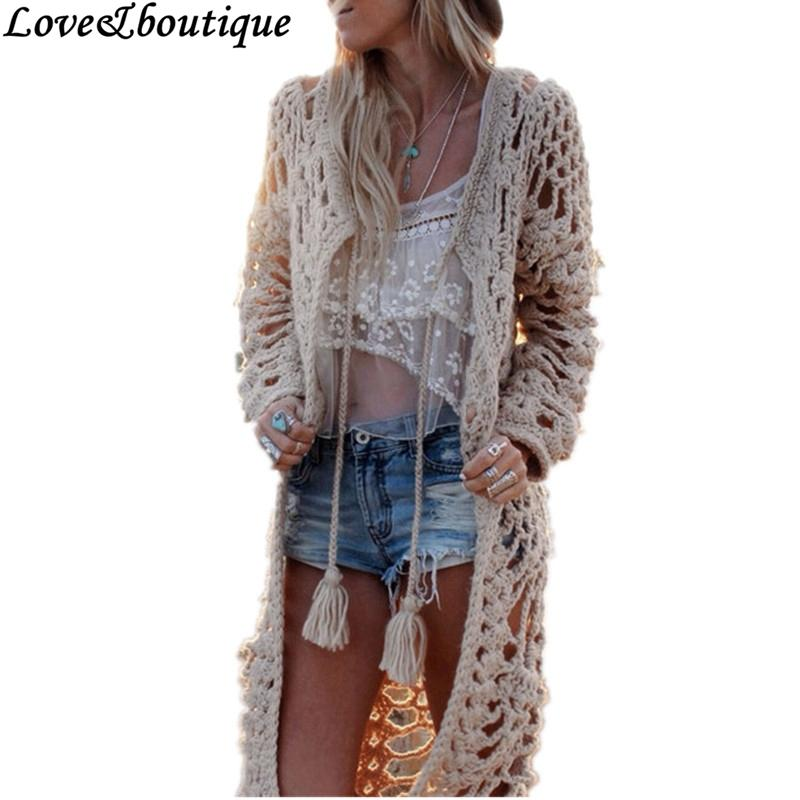6817c7eccde Wholesale- Fall New Women Bohemian Style Crochet Hollow-out Tassel Long  Sleeve Long Knitted Cardigan Sweater Casual Knitwear Fringed Blouse