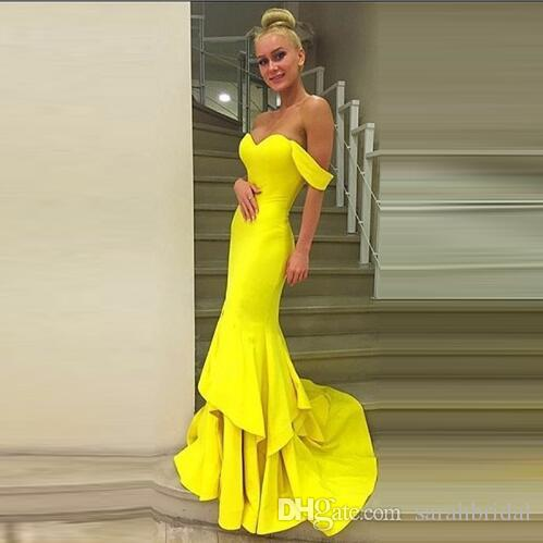 New Sweetheart mais sexy Celebrity Dress Ruched grávida sexy sereia vestidos de baile Amarelo designer sem mangas modesto Evening Wear