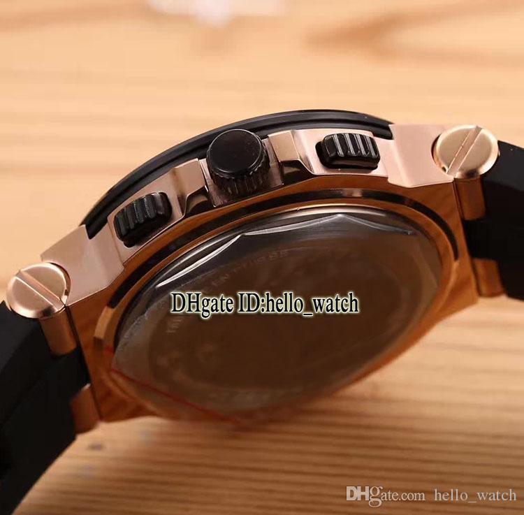 7 Estilo Diagono 42mm Dial Negro 101992 DG42BSCVDCH VK Japón Cronógrafo de cuarzo Reloj para hombre Correa de caucho Relojes para caballeros