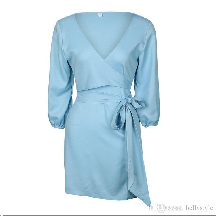 New Summer 2017 Dress Sexy Casual Loose Short V-Neck Dress Sashes Asymmetrical Blue Office Dress Women Clothing Vestidos DHL DY170908