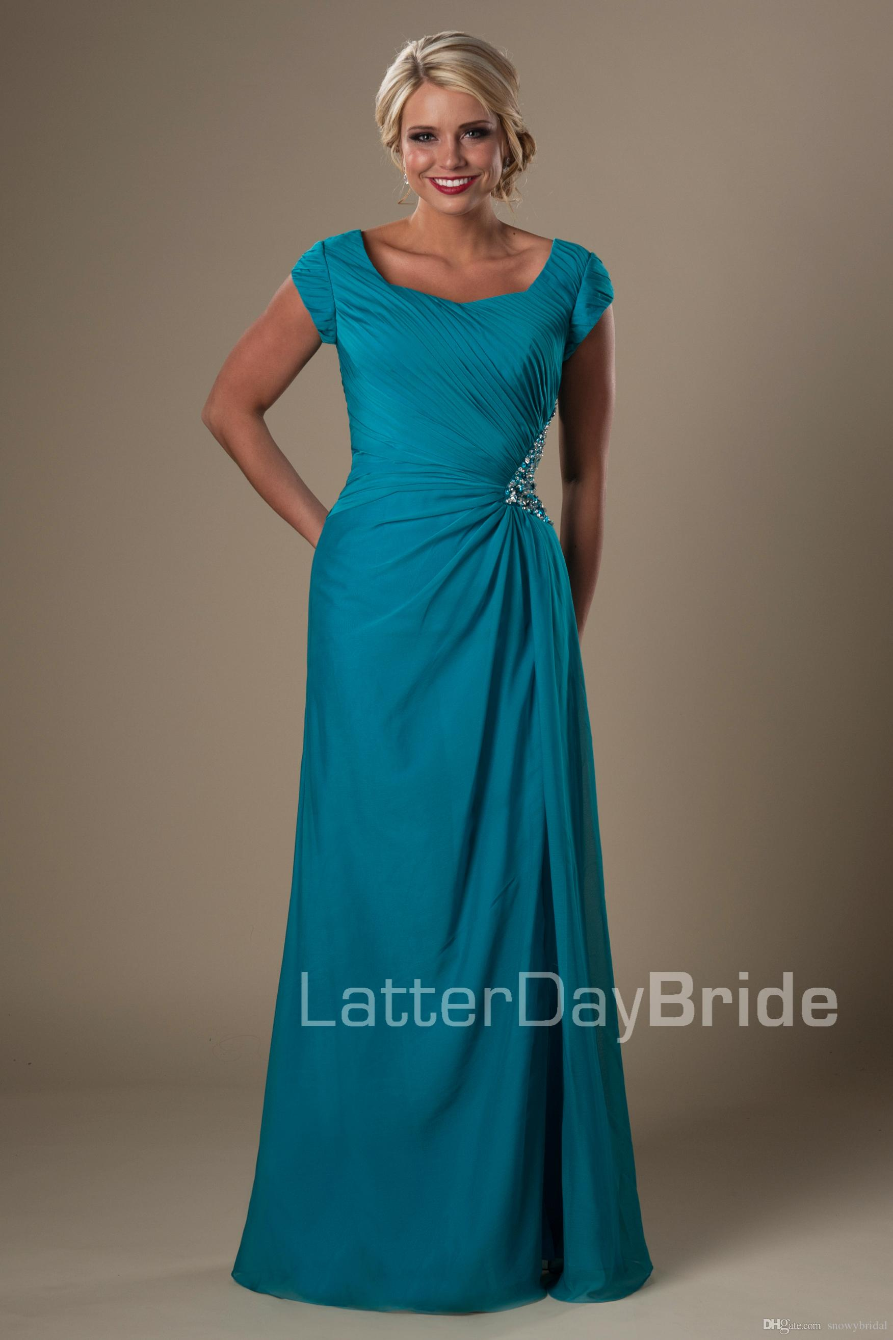 Turquoise Chiffon Long Modest Bridesmaid Dresses With Short Sleeves ...